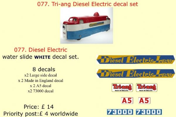 077. Tri-ang Diesel Electric decal set